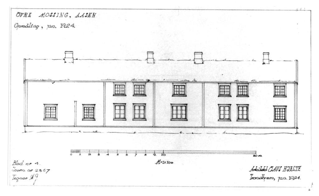 Øvre Mossing, 1924. Tegning ved arkitekt Claus Hjelte. Kilde: Riksantikvaren.